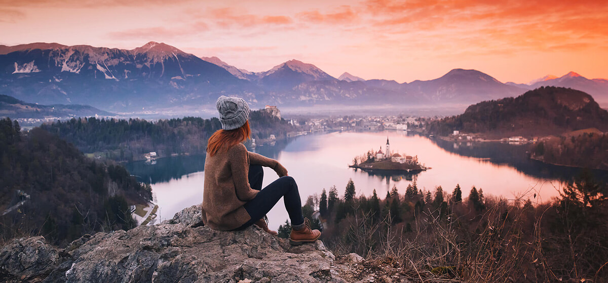 Bike and hike holidays Slovenia view of Bled